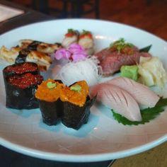 Nice looking plate. Uni, sablefish aburi, wagyu beef aburi, hamachi toro, ikura and mackerel at Zen Japanese #WestVancouver #nigiri #Sushi #SushiLove #JapaneseFood #Vancouver