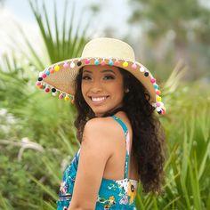 c58445e9d9 Pom Pom Sun Hat, Monogram Beach Hat, Floppy Beach Hat, Personalized Beach  Hat, Straw Hat, Sun Hat, Floppy Sun Hat, Derby Hat