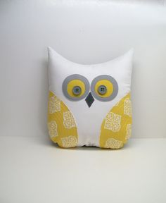 owl pillow decorative, grey yellow white owl, unisex, nursery, child's room decor. $28.50, via Etsy.