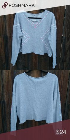 Aeropostale TokyoDarling Grey Sweatshirt Pink & white hearts detail along the body and sleeve. New with tags. Aeropostale Sweaters