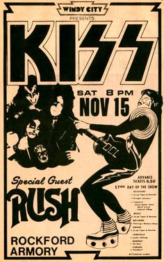 Framed Vintage Music Concert Poster – KISS with Rush (Replica Picture Artwork) Concert Rock, Rush Concert, Concert Flyer, Jazz Concert, Rock Posters, Band Posters, Posters Diy, Rock And Roll, Assemblage Kunst