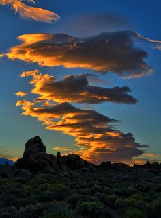 Lenticular clouds at sunset over the Alabama Hills, Lone Pine, California.    Photo by Dave Toussant.