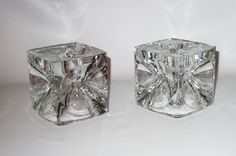 "Rudolfova Czech Glass Pair 2 3/4"" Cube Candle Holders Vintage 1960s Sklo Union"
