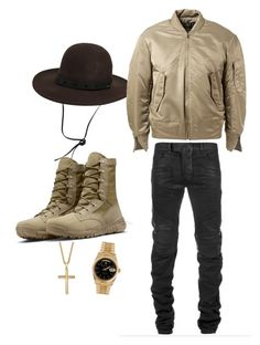 """""""Platinum"""" by kakesedition on Polyvore featuring Brixton, Balmain, Palm Beach Jewelry, Rolex, adidas Originals and NIKE"""