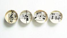 Vintage Sheet Music Set of 4 you choose magnets or push