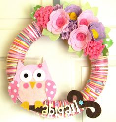 Owl Nursery Wreath-Custom Name: 14 inch Felt and Yarn Wreath on Etsy, $50.00