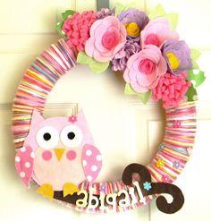 Owl Nursery Wreath-Custom Name: 14 inch Felt and Yarn Wreath on Etsy, $50.00