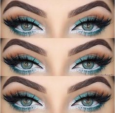 Wie Rock Make-up für grüne Augen & Make-up-Ideen, Tutorials - Frisuren Frauen Como maquillaje de roca para ojos verdes e ideas de maquillaje, tutoriales Rock Makeup, Sexy Eye Makeup, Silver Eye Makeup, Gorgeous Makeup, Beauty Makeup, Turquoise Makeup, Green Makeup, Turquoise Eye Makeup, Glamorous Makeup