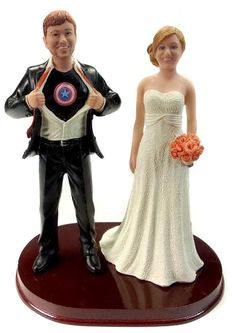 Captain America Groom Wedding Cake Topper