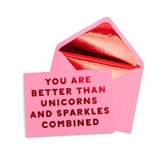 is there anything better that getting a compliment when you least expect it? we took some of our favorite phrases to pass out and turn them into mailable magic. Just looking at the metallic foil text