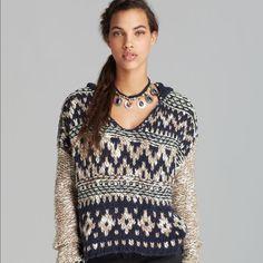 FREE PEOPLE SWEATER BLUE COMBO $148 NWT Free People Beautiful hooded Sweater. NWT Free People Sweaters