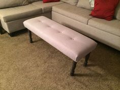Upholstered bench button tufted end of bed stool by lilykayy, $99.00