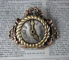Steampunk Mantle Clock Brooch by PINSwithPERSONALITY on Etsy, $22.00