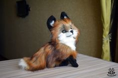 this wonderful fox cub has found a new home! I hope he will be happy in new home!  Craft by  it is 100% handmade!I used clay,  faux fur, wire frame, also acrylic paint and varni...