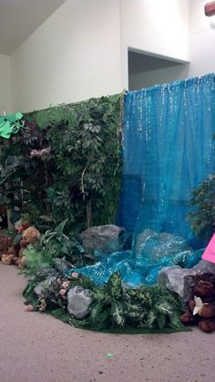 Waterfall for Rolling River Rampage vbs. Waterfall Decoration, Cave Quest Vbs, Jungle Decorations, Camping Party Decorations, Decoration Photo, Waterfall Features, Off The Map, Jungle Theme, Jungle Safari
