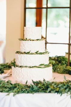 Olive branch decorated wedding cake: http://www.stylemepretty.com/little-black-book-blog/2015/02/23/elegant-calamigos-ranch-wedding/ | Photography: Sara Lucero - http://www.saralucero.com/