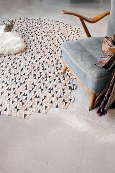 Love this idea! This unique piece rethinks the idea of a rug and allows you to reshape and use it almost like a sculptural piece in the home.