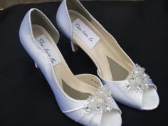 White Satin Bridal Shoes Clear Flowers And Crystals #541, 45% off | Recycled Bride