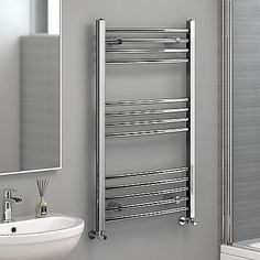 Chrome Designer Curved Towel Rail Radiator Heated Bathroom Warmer 1000 X 600 Mm