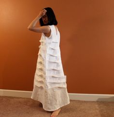 custom  spiral pleats linen dress made to by annyschooecoclothing, $168.00