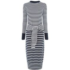 Warehouse Stripe Tie Waist Dress ($73) ❤ liked on Polyvore featuring dresses, navy, women, navy striped dress, striped dress, navy blue dress, stripe dresses and tie dress