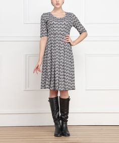 Gray Chevron A-Line Dress | zulily