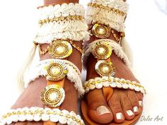 Luxury Gold and white Sandals bride sandals wedding sandals