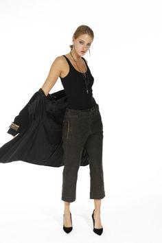 Pantalone Mason's Donna modello Ada in resca di cotone - Masons