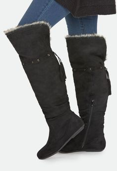 This faux suede boot will keep you warm all season with its faux fur cuff and lining. Inner zip closure.  ...
