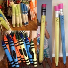 How to make GIGANTIC pencils, crayons, and markers with pool noodles! Perfect for back to school pictures, classroom decorations, parties, and so much more. Directions here: http://www.smartschoolhouse.com/diy-crafts/back-to-school-hacks/9