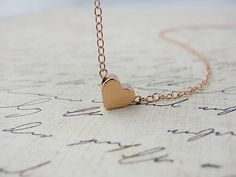 Rose gold heart necklace  rose gold necklace by OliveYewJewels, $37.00