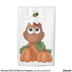 Autumn Fall Barn Owl Harvest Pumpkin Patch with Honey Bumble Bee Decorative Holiday Kitchen Hand Towel for Thanksgiving Fall Owl, Autumn Fall, Owl Nursery Decor, Room Decor, Kitchen Hand Towels, Primitive Decor, Gift Guide, Fall Decor, Mall