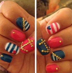 Blue and Red | 17 Gorgeous Blue Nails Art