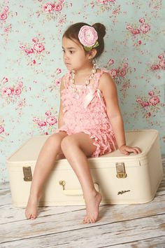 Vintage Pink Lace Pettiromper - Girl Petti Romper - first birthday outfit, pair w/ pink birthday pettiskirt, 5T, 6, 8-10. $26.00, via Etsy.
