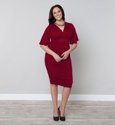 Plus Size Dresses - Rumor Ruched Dress - Kiyonna