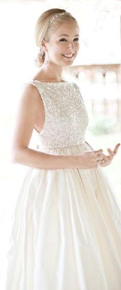 Wedding Dress with Sequin Top for reception dress, so pretty!! @Nicole Novembrino Novembrino Logalbo