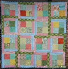"""Scrappy Flora quick super easy good for a beginner: Make in a weekend: 64 x 5"""" squares 4 x 1/2 yard co-ordnating fabrics......"""