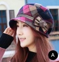 Warm plaid bucket hat with bow for women winter wear