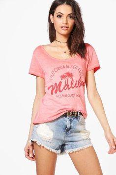 #boohoo Malibu Slogan T-Shirt - coral DZZ55472 #Zoe Malibu Slogan T-Shirt - coral