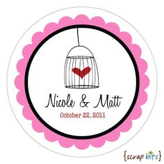 Personalized Wedding Stickers . BIRDCAGE HEART Round Stickers for Wedding Favors, Candy Buffet or Packaging