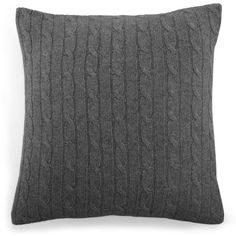 Ralph Lauren Home Cashmere Cable-Knit Decorative Pillow (89 KWD) ❤ liked on Polyvore featuring home, home decor, throw pillows, pillows, modern charcoal, cable knit throw pillow, textured throw pillows and ralph lauren home