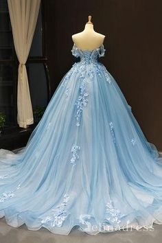 Off Shoulder Sky Blue Tulle Appliques Lace Senior Prom Dress, Evening Dress, Ball Gown Prom Dresses Pretty Quinceanera Dresses, Blue Wedding Dresses, Tea Length Wedding Dress, Formal Dresses, Romantic Dresses, Elegant Dresses, Blue Ball Gowns, Ball Gowns Prom, Ball Gown Dresses