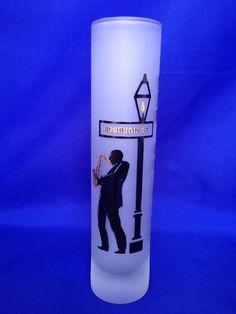 Bourbon Street NEW ORLEANS Frosted Glass Jazz Fest Gold & Black Lamp Post St