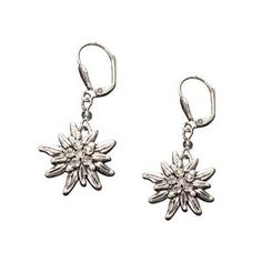 Bavarian Earrings Rhinestone Edelweiss (clear) - Traditional German Dirndl, Lederhose Jewelry