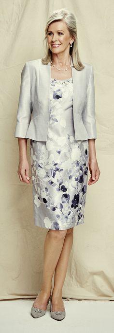 Dove grey jacket, £99; grey floral dress, £49; both jacques-vert.co.uk. Grey heel shoes, £...