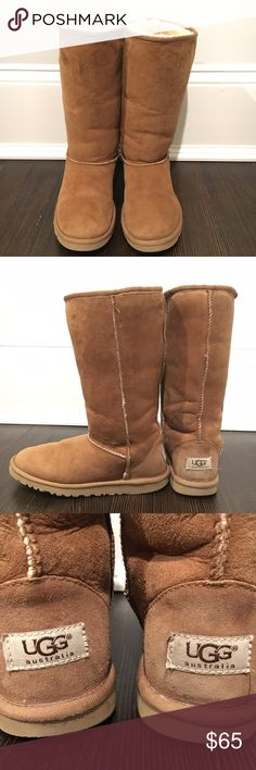UGG CLASSIC TALL BOOTS IN CHESTNUT Authentic classic tall Uggs in chestnut color.   In great condition!! Super soft inside and out! Soles are in great condition too!!   **Size 6, but fits more like a 7** UGG Shoes Winter & Rain Boots