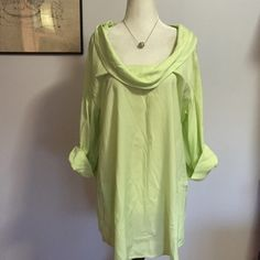 """Soft Surroundings Pale Lime Tunic- Lge NWOT Beautiful lightweight viscose material- unique side pockets & 3/4 sleeves. Brand new with extra buttons! Armpit to armpit- 20"""" / Length- 32"""" Soft Surroundings Tops Tunics"""