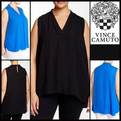 """Tunic Tank Layering Top Blouse RETAIL PRICE: $79  NEW WITH TAGS   Tunic Tank Layering Top Blouse * A relaxed & subtly oversized fit * Lightweight fabric  * Surplice V-neck front, pleated shoulders, & pullover style.  * Back keyhole w/dual button closure * About 30"""" long, true to size Fabric: 100% Polyester;Machine wash  Color: Rich black ***Model is wearing size 1X No Trades ✅ Offers Considered*✅ Bundle Discounts ✅ *Please use the blue 'offer' button to submit an offer. Vince Camuto Tops…"""