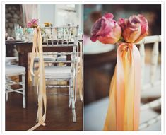 orange and fuchsia chair decorations