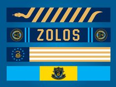 Scarf designs for the Philly Union Major League Soccer team. I love the snake!